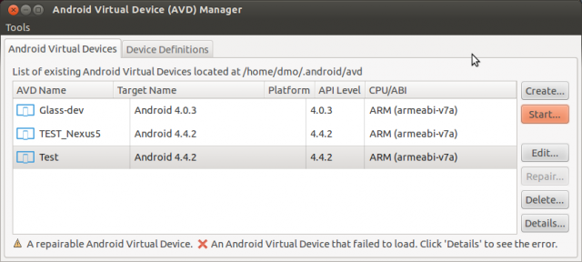 AVD. Android Virtual Device Manager