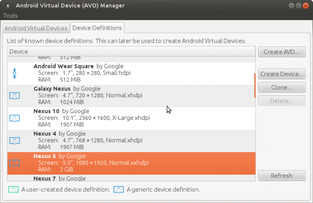 AVD. Android Virtual Device Manager. Device Definitions