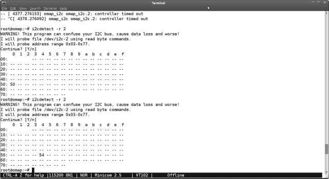 i2cdetect with two different 24C256 I2C addresses