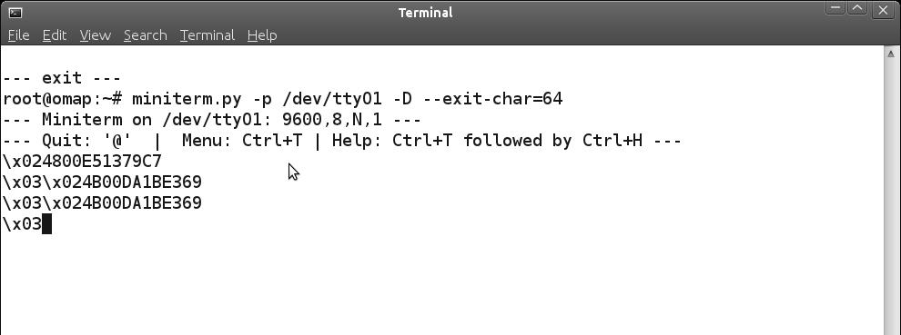 BeagleBoard reading RFID tags through miniterm.py