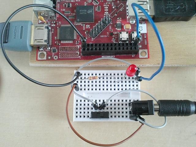 BeagleBoard Expansion Header Power. Switch and LED