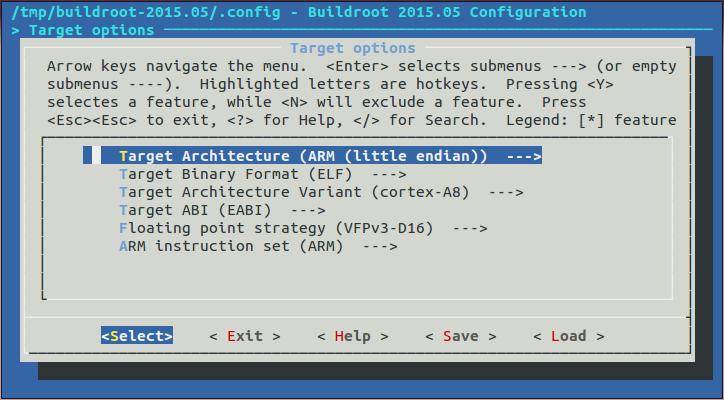 AAXH05. Buildroot menuconfig. Architecture Options