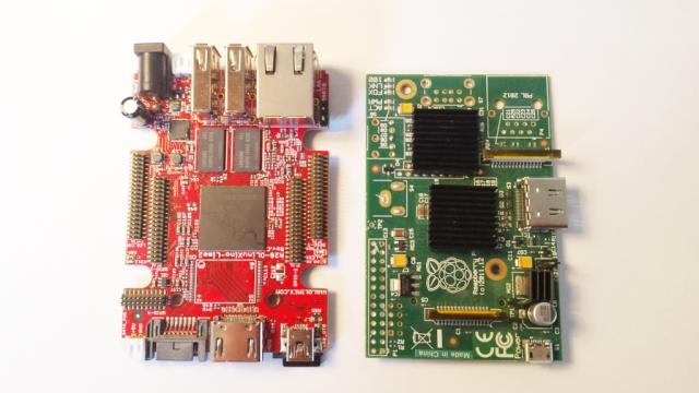 OlinuXino LIME 2 vs Raspberry Size: OlinuXino LIME 2 side by side with a Raspberry Pi model B with some connectors removed...