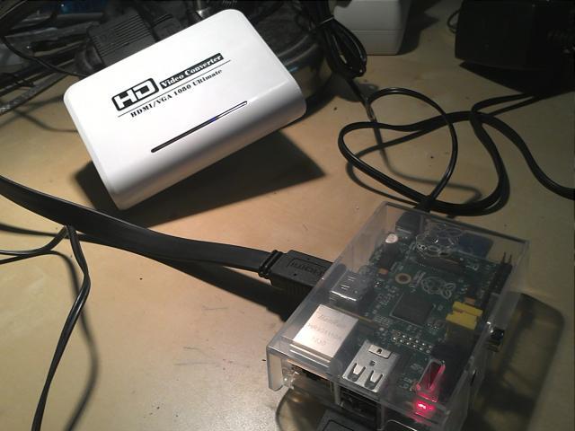 Raspberry PI and powered HDMI to VGA converter