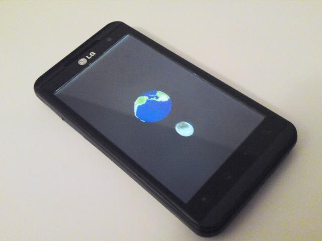 Real3D SDK OpenGL Sample Application running on LG Optimus3D
